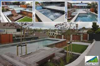 Fully Tiled Pool With Corten Steel Exterior